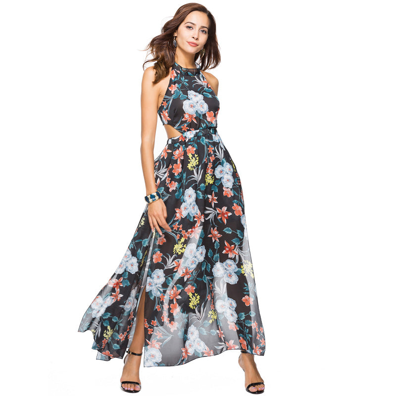 6a4d2d97386e7 Hover to zoom · Long Summer Floral Chiffon Dress Women Flower Print Casual Split  Halter Neck Dress Ladies Elegant Vintage