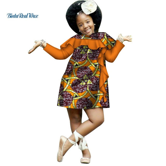 636a1164f74 ... Dashiki Ankara Print Dresses for Kids Children Bazin Riche African  Style. Hover to zoom