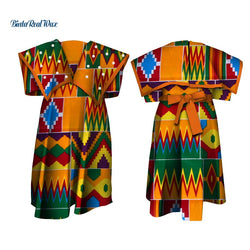 Lovely Girls Pearl Bow Wide Collar Dresses Bazin Riche African Print Ankara Dresses for Kids Children African Clothing WYT246