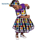 Lovely Girls Peter Pan Collar Lace Dresses Bazin Riche African Print Ankara Dresses for Kids Children African Clothing WYT246