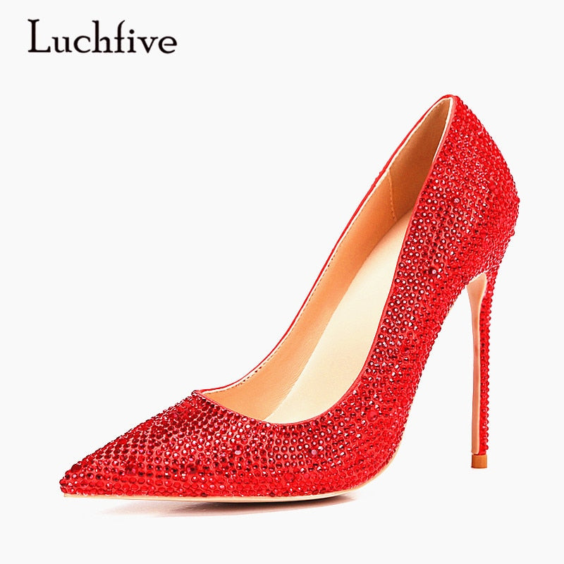 good texture buy sale buy good Luchfive Crystal High Heels Ladies Party Wedding Shoes Red Silver Black  Women Pumps rhinestones Pointed Toe Mules Shoes Woman