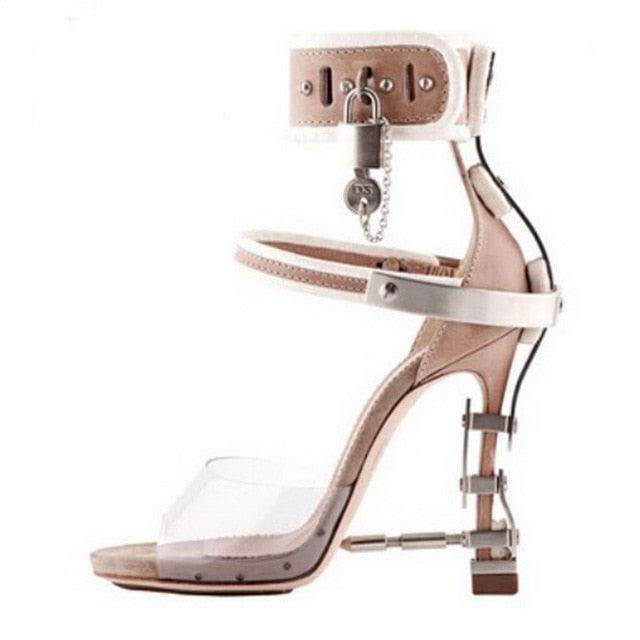 2c7e273901a5e ... Luchfive Special Jeweled Heel Gladiator Sandals Women Ankle Strap Lock  PVC Clear Peep Toe Crystal Women