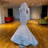 Luxurious Mermaid 2019 African Dubai Prom Dresses High Neck Beaded Crystals Chic Bride Dress Long Sleeves Formal Evening Gowns