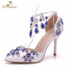 d88ec5cebff9 Luxurious Wedding Party Shoes Pointed Toe Royal Blue Rhinestone Heels  Bridal Shoes Thin Heel Sandals Special ...