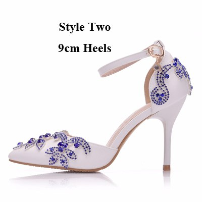 b293a4b39a51 ... Luxurious Wedding Party Shoes Pointed Toe Royal Blue Rhinestone Heels  Bridal Shoes Thin Heel Sandals Special ...