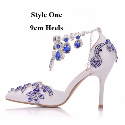 6c0bf124aaa9 ... Luxurious Wedding Party Shoes Pointed Toe Royal Blue Rhinestone Heels  Bridal Shoes Thin Heel Sandals Special