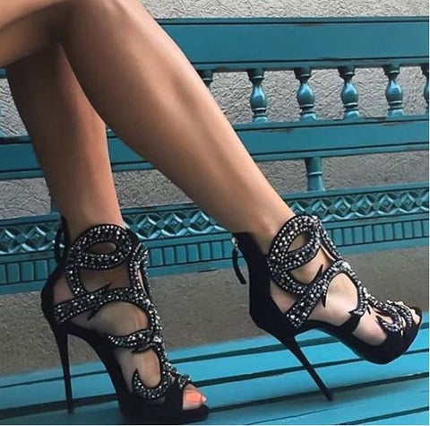 462e2a3e043d ... Image of Luxurious Women Black Gold Champagne Crystal Sandals Bling  Bling Cage Dress Shoes Gladiator Thin ...