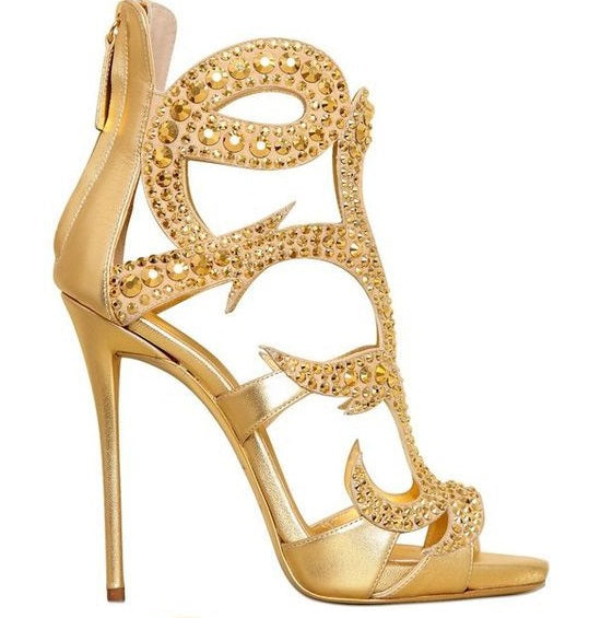 969f43d70edb ... Luxurious Women Black Gold Champagne Crystal Sandals Bling Bling Cage  Dress Shoes Gladiator Thin High Heel ...