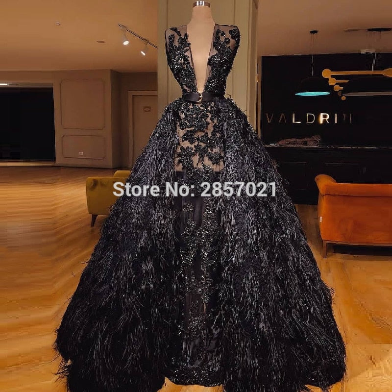 Luxury Arabic Muslim Evening Dresses Sparkle Feather Long Formal Prom Dress  Party Gowns 2018 Robe de ... ccf8a0829e25