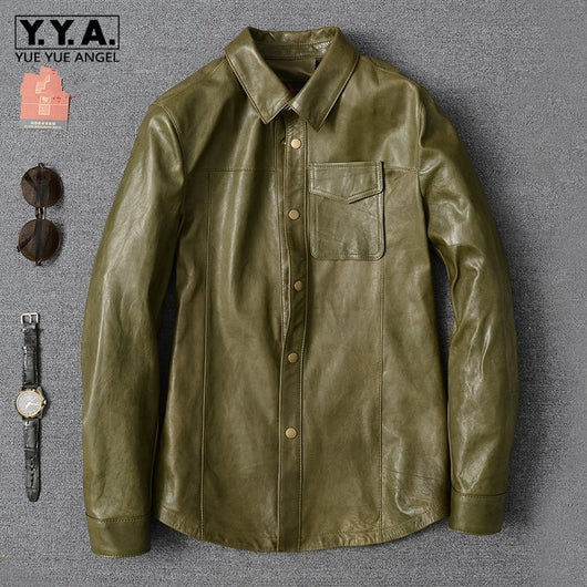 Luxury Army Green Sheepskin Shirt Men 2019 New Lapel Long Sleeve Slim Office Formal Shirt Oversize High Quality Casual Blouse