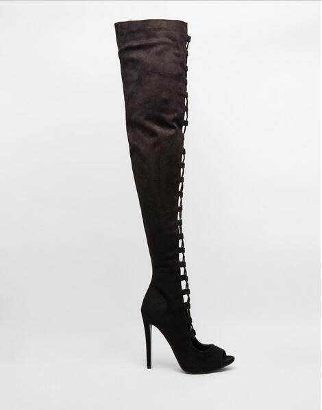 1433e78641a Luxury Black Taupe Suede Lace-up Strappy Over The Knee Boots Peep Toe Cut-.  Hover to zoom