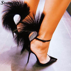 Luxury Faux Fur Ankle Strap Patent Leather Pumps Women High Stiletto Heels Crystals Embellished Pointed Toe Ladies Shoes Sexy