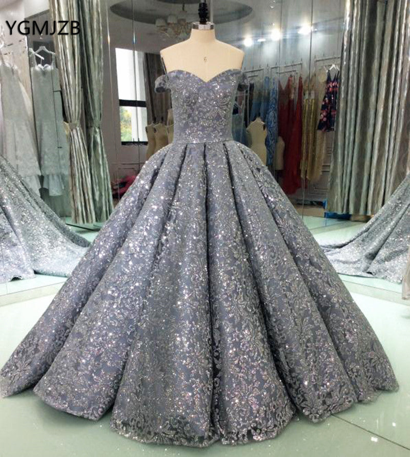 Luxury Glitter Sequins Evening Dresses Long 2018 Ball Gown Sparkly Saudi  Arabic Women Formal Evening Prom ... 58b13a54d789