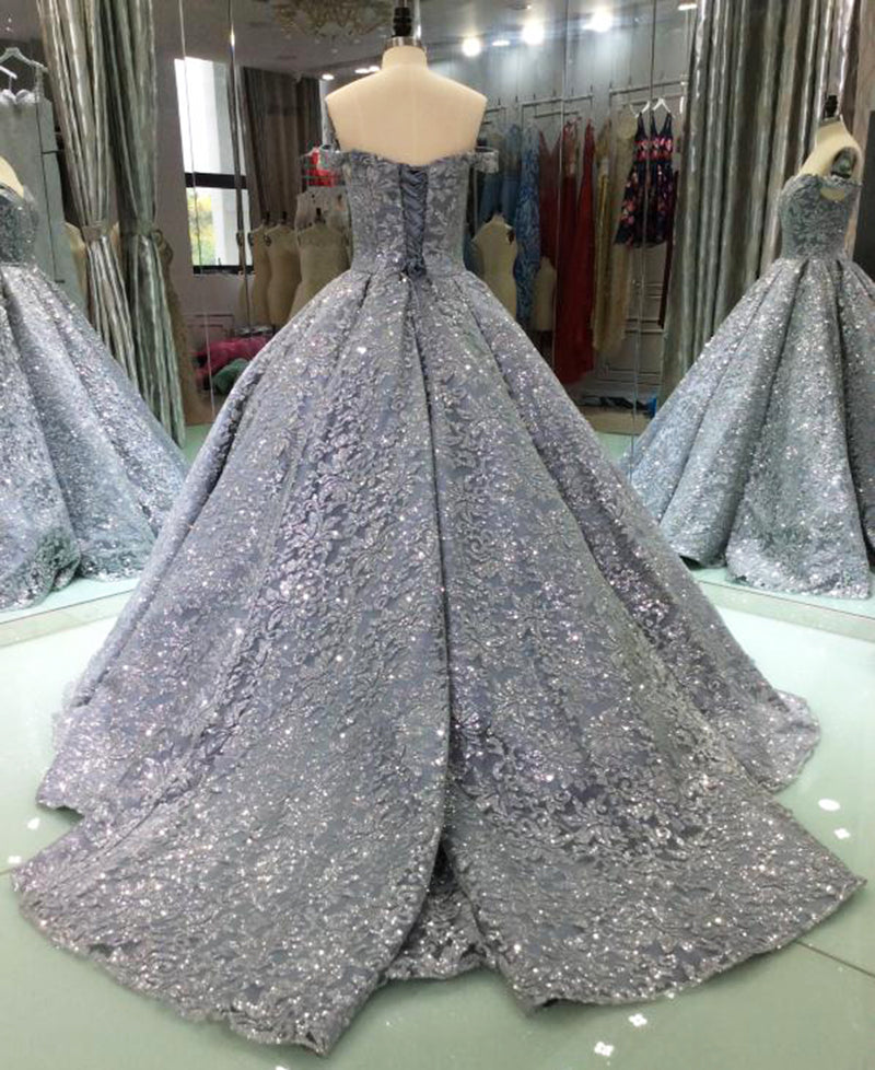 0394c73d Luxury Glitter Sequins Evening Dresses Long 2018 Ball Gown Sparkly ...