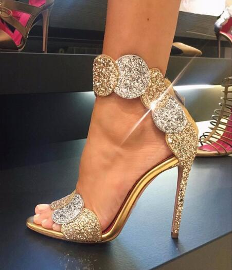 Luxury Gold Bling Bling Glitter Embellished High Heel Sandal Summer Open  toe Woman Shoes Ankle Strap d3e55bb8d78a