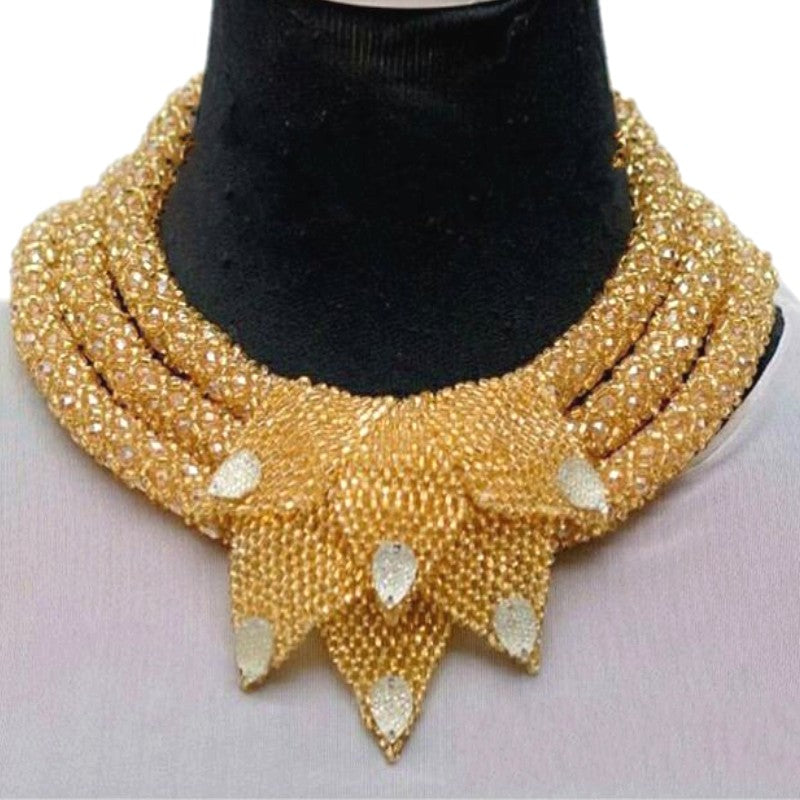Luxury Gold Dubai Jewelry Sets Bridal Design 3 Layers Necklace With