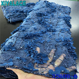 Luxury Handmade Pearls Lace Fabrics Top Quality Nigerian Embroidery Lace Fabric 2020 Heavy Beaded Lace Fabric with 3D Flowers 5y