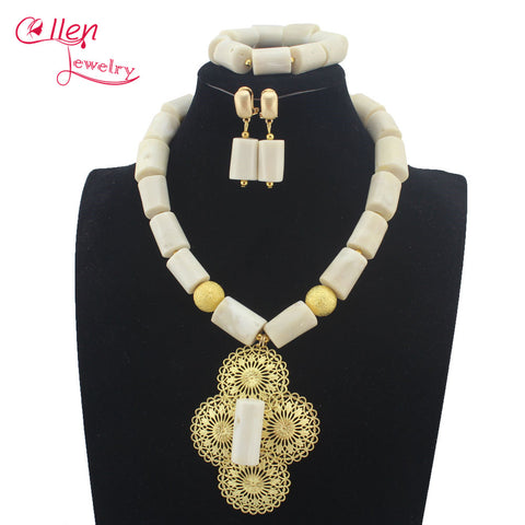 Luxury Natural white Coral Beads Bridal Jewelry Sets African Nigerian Wedding Beads for Women Jewelry Set Free Shipping W1316