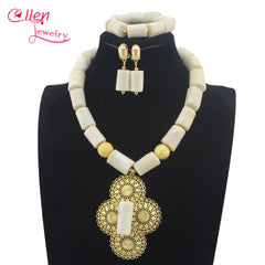 Image of Luxury Natural white Coral Beads Bridal Jewelry Sets African Nigerian Wedding Beads for Women Jewelry Set Free Shipping W1316