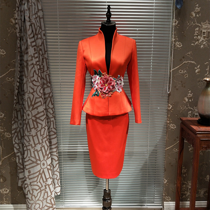 e54f505bc Luxury New Designer Chinese Embroidery Suit Uniform Host Meeting ...