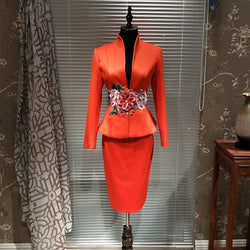 Luxury New Designer Chinese Embroidery Suit Uniform Host Meeting Skirt Suits Blazer & Suits High End Women's Blazers Suits