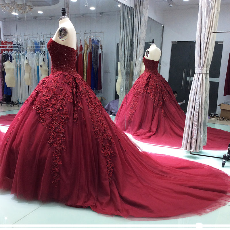 48f1c046280f Hover to zoom · Luxury Princess Wine Red Wedding Dresses 2018 New Ball ...