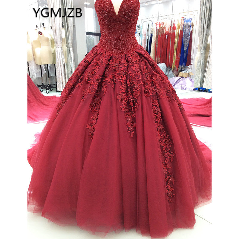 9e6a799f1b7 Hover to zoom · Luxury Princess Wine Red Wedding Dresses 2018 New Ball Gown  Sweetheart Beaded Crystal ...