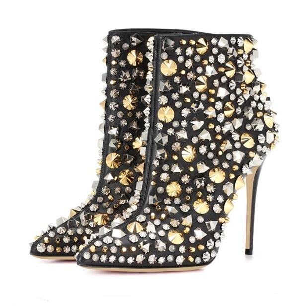 ffbefb59c4 Luxury Shoes Women Designers Sexy Pointed Toe Bling Crystal Rivets  Decoration Boots 12 CM Heels Ladies Gladiator Ankle Boots
