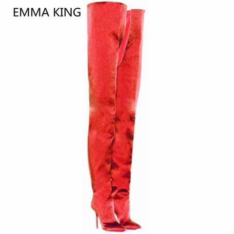 Luxury Silk Satin Women Over The Knee Crotch Boots Pointed Toe Sexy 12cm Stiletto High Heels Ladies Winter Shoes Cowboy Boots