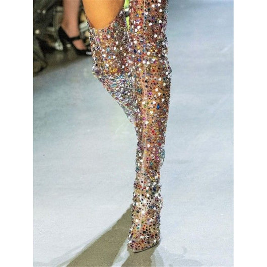 shop uk store undefeated x Luxury Transparent PVC Colorful Rhinestone Studded Thigh High ...