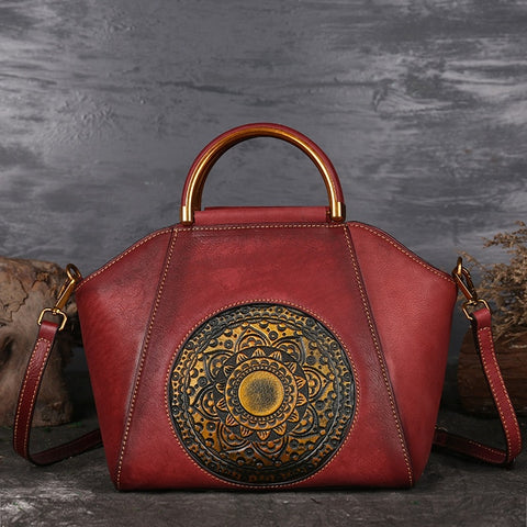 Luxury Women Genuine Leather Handbags Ladies Retro Elegant Shoulder Messenger Bag Cow Leather Handmade Womans Bags