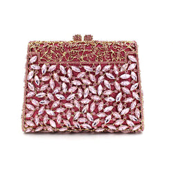 Luxury pink crystal clutch evening bag Golden party prom hasp day clutches wedding Bridesmaids silver clutch bags purse wallets