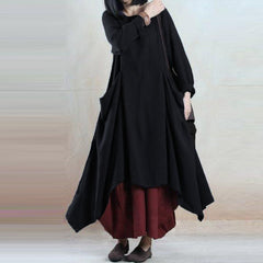 M 5XL ZANZEA Crew Neck Long Sleeve Irregular Vestidos Kaftan Spring Women Retro Casual Solid Cotton Linen Party Long Dress 2018
