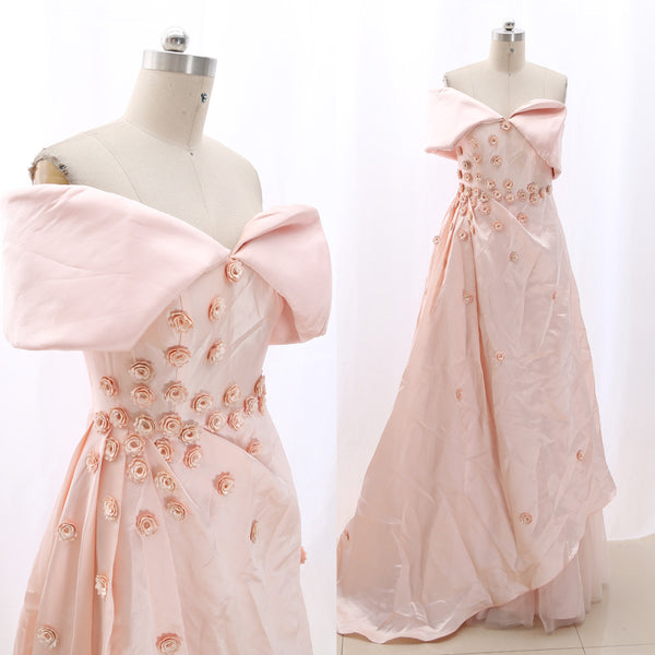 MACloth Light Pink Sheath Off the shoulder Floor-Length Long Floral Satin Prom Dresses Dress M 267795 Clearance