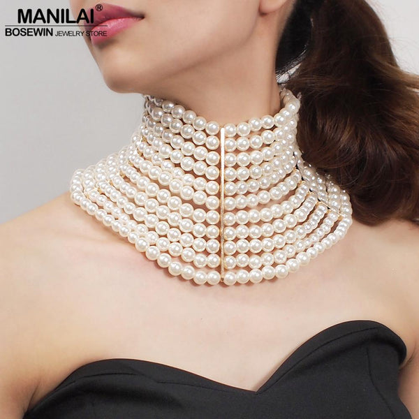 MANILAI Brand Imitation Pearl Statement Necklaces For Women Collar Beads Choker Necklace Wedding Dress Beaded Jewelry 2019
