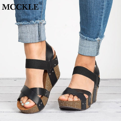 MCCKLE Plus Size Sandals Female Clogs High Heels Summer Wedges Shoes Platform Shoes Ladies Fashion Footwear Casual Sandal