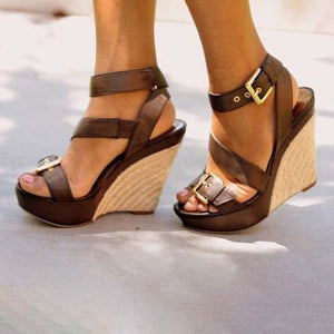 3b374382c41c ... MCCKLE Plus Size Women Summer Sandals Fashion Platform Wedges Shoes  Rome Style High Heel Sandal For