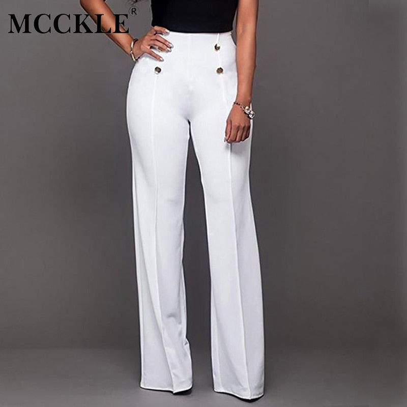 baa02e182f1 MCCKLE Wide Leg High Waist Women Pants Button Plus Size Flare Casual Pants  Office Lady Fashion Loose Stretch Women Palazzo Pants