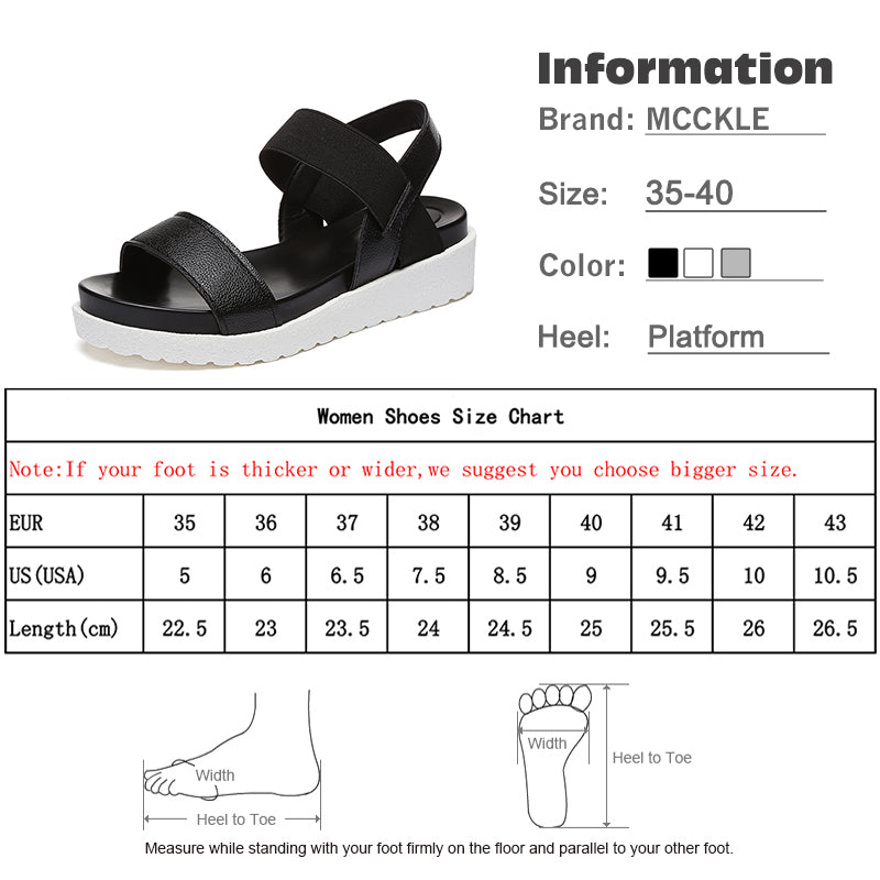 e3df8f704243 MCCKLE Women Sandals Slip On Elastic Band Female Summer Shoes Platform  Roman Female Flat Sandals mujer. Hover to zoom