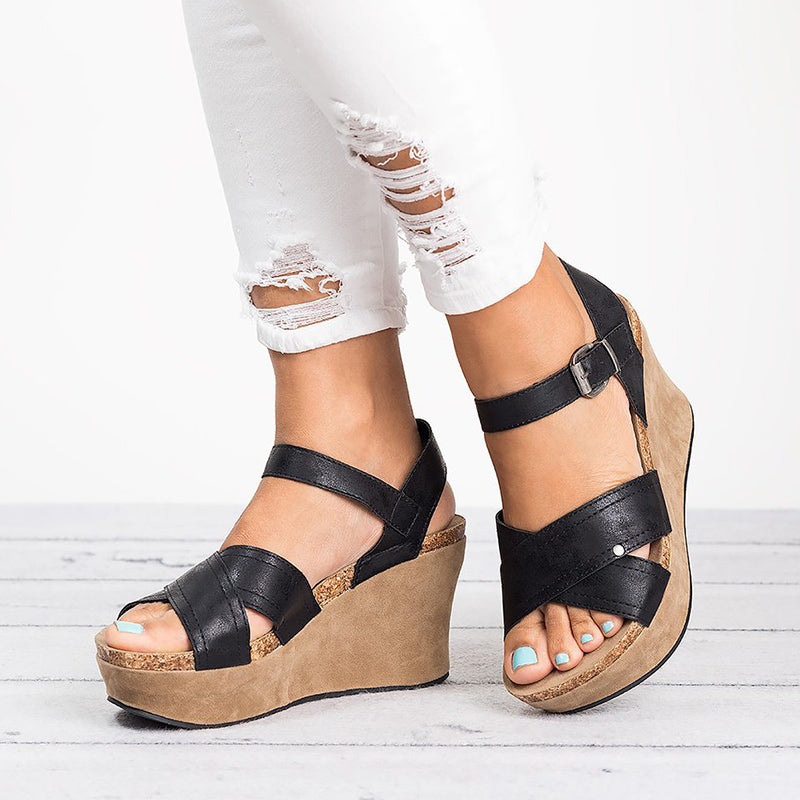 61833b67ad6 MCCKLE Women Wedges Shoes Plus Size Summer Gladiator High Heels ...