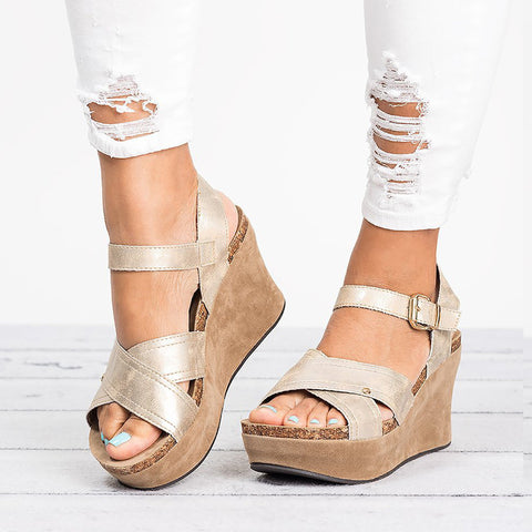 MCCKLE Women Wedges Shoes Plus Size Summer Gladiator High Heels Female Sandals Cross Strap Rome Platform Buckle Casual Shoe