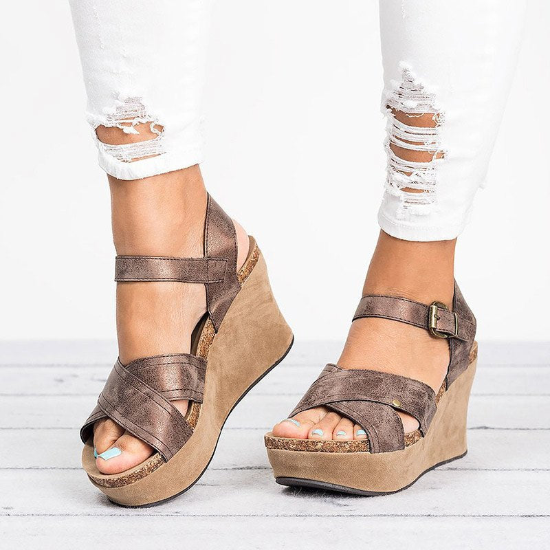 95faa0cf6a4b Hover to zoom · MCCKLE Women Wedges Shoes Plus Size Summer Gladiator High  Heels Female Sandals Cross Strap ...