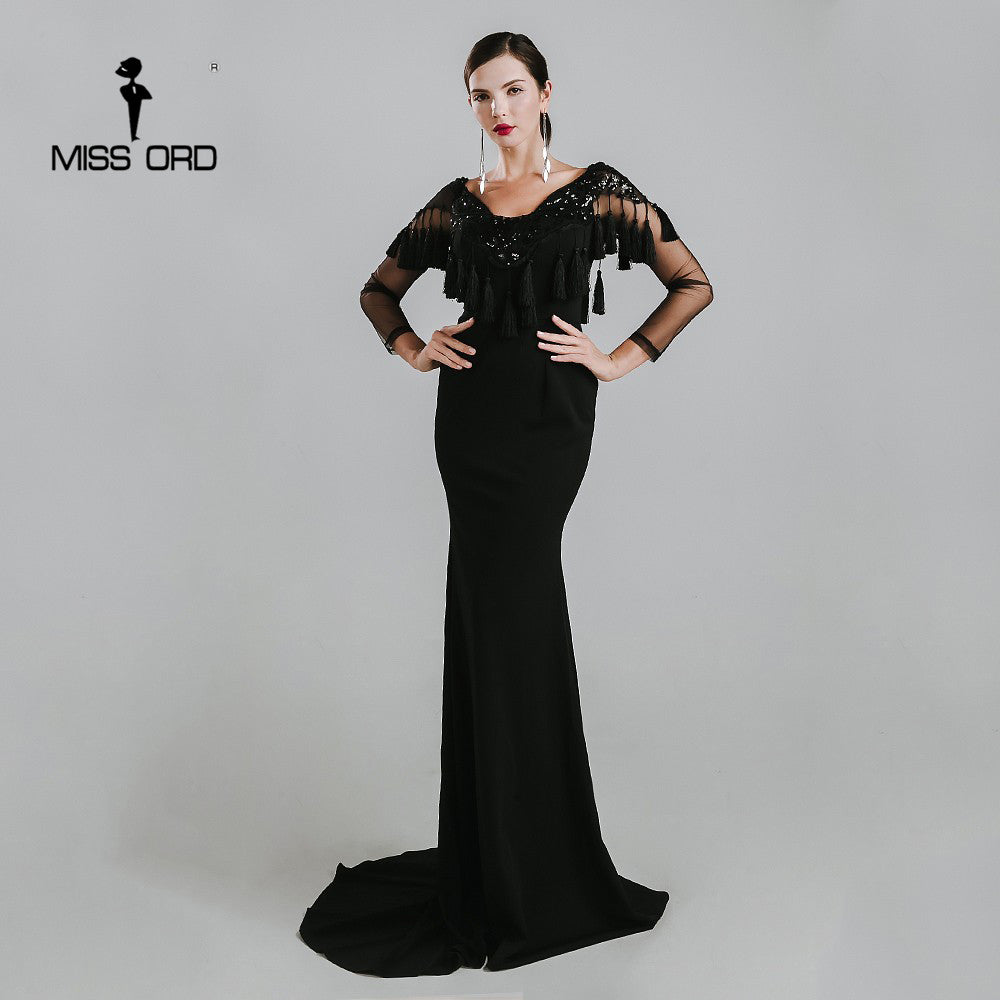 7b4eb3a7cb MISS ORD 2018 Sexy V-neck tassel sequin maxi dress FT4774 – Owame