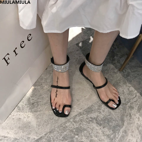 MIULAMIULA Brand Designers 2019 Summer Luxury Bling Crystal Band Lace Up Ladies Sandals Clip Toe Flat Shoes Female For Holiday