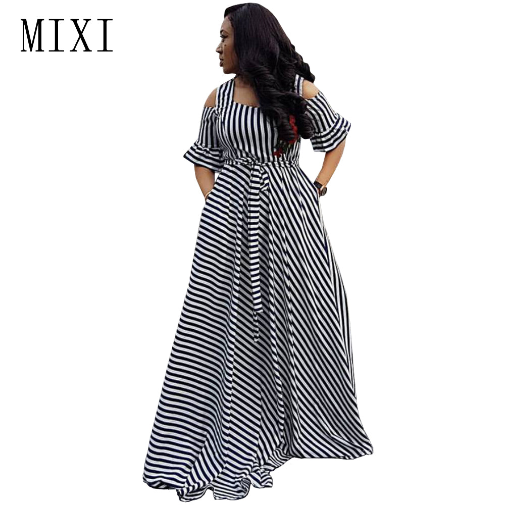 9e8d9b665b Hover to zoom · MIXI Floral Embroidery Striped Maxi Dress Cold Shoulder  Short Sleeve Sashes ...