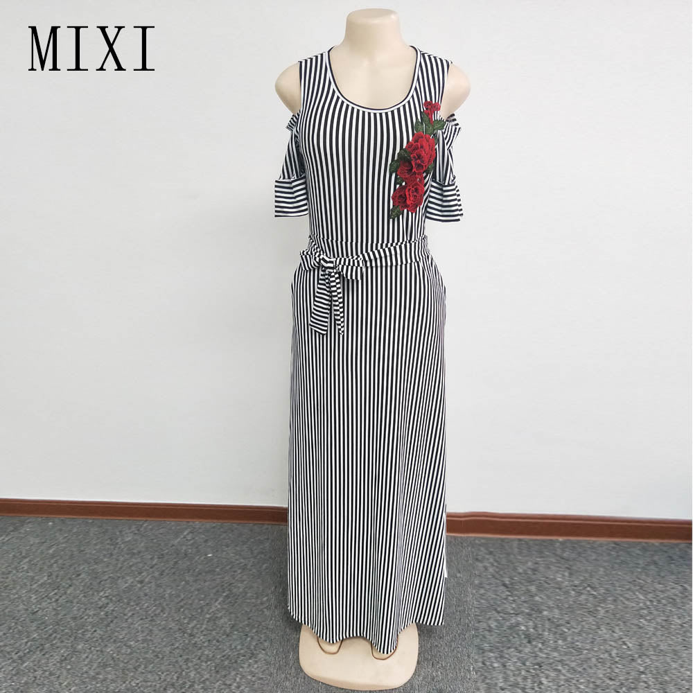 9a8e0560ce MIXI Floral Embroidery Striped Maxi Dress Cold Shoulder Short Sleeve Sashes  Elegant Party Dress Women Summer. Hover to zoom