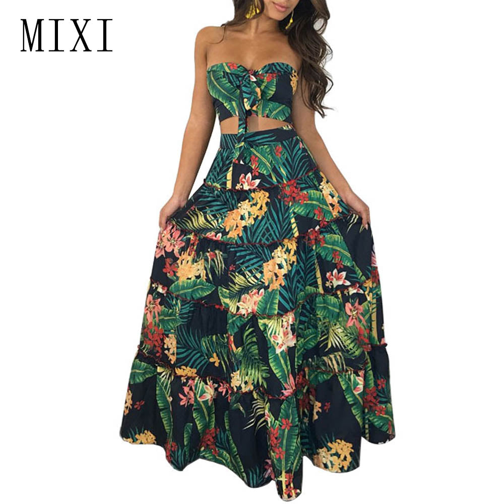 00855ccdb09 MIXI Leaf Floral Printed Two Piece Dress Women Sexy Party Strapless  Sleeveless Ruffles Maxi Dress Boho. Hover to zoom
