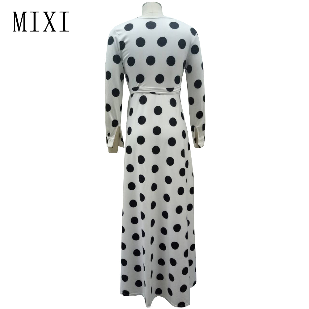 c97065bcfdc00 MIXI Plus Size Polka Dot Long Dress Women V Neck Full Sleeve Bow Sashes  Evening Party Dress Loose Vintage Maxi Dresses Vestidos