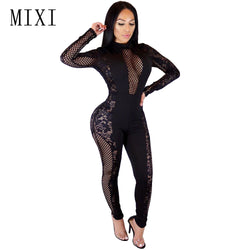 MIXI Sexy Hollow Out Black Lace Jumpsuit Long Sleeve See Through Mesh Jumpsuits Female Overalls Bodycon Rompers Womens Jumpsuit