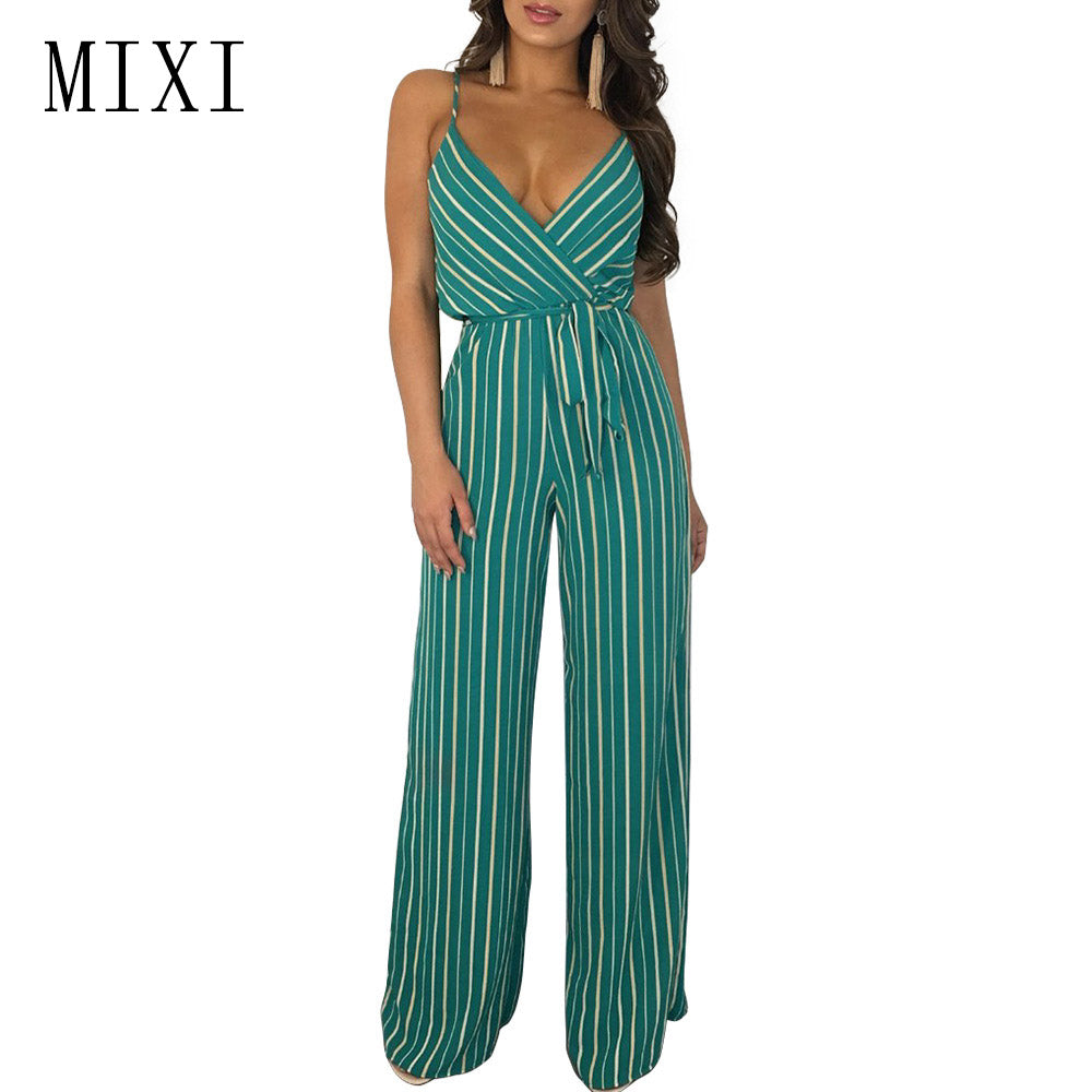 2ef3d1c3931 ... MIXI Sexy Striped Jumpsuit Women Spaghetti Strap V Neck Belt Casual Wide  Leg Jumpsuit Summer Beach